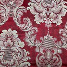 Портьерная жаккардовая ткань с рисунком «дамаск» красная