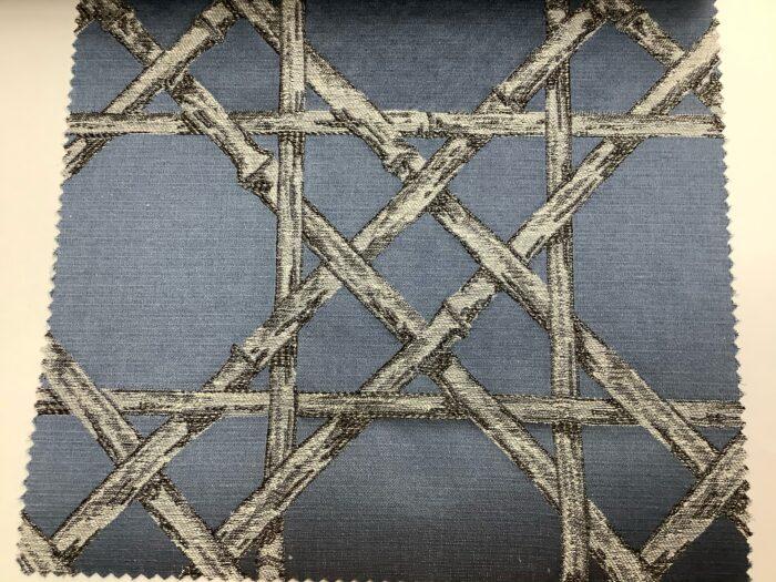Жаккардовая ткань из хлопка и льна в японском стиле синяя
