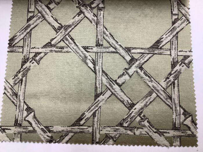 Жаккардовая ткань из хлопка и льна в японском стиле оливковая
