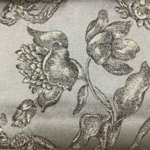 Жаккардовая ткань из хлопка и льна в классическом и японском стилях серебристая
