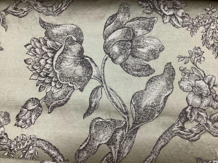 Жаккардовая ткань из хлопка и льна в классическом и японском стилях оливковая
