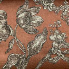 Жаккардовая ткань из хлопка и льна в классическом и японском стилях терракот