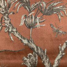Портьерная жаккардовая ткань из хлопка и льна в японском стиле терракот