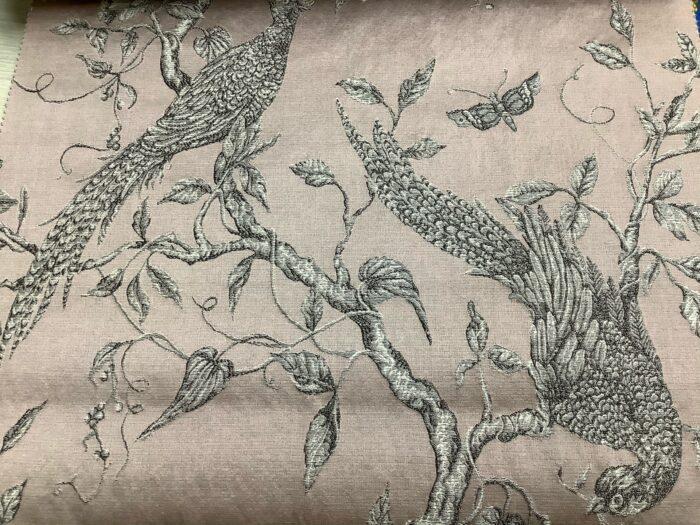 Портьерная жаккардовая ткань из хлопка и льна в японском стиле розовая