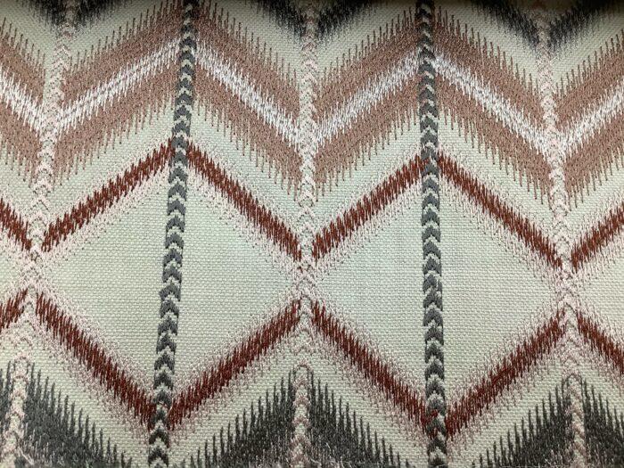 Портьерная ткань терракот с вышивкой в этническом стиле