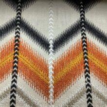 Портьерная ткань с вышивкой в этническом стиле в желтых тонах