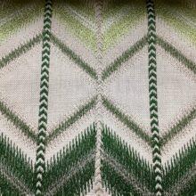 Портьерная ткань с вышивкой в этническом стиле зеленая
