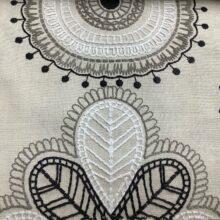 Портьерная ткань с вышивкой из хлопка в этническом стиле бежевая