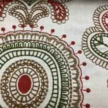 Портьерная ткань с вышивкой из хлопка в этническом стиле махагон
