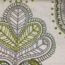 Портьерная ткань с вышивкой из хлопка в этническом стиле серо-зеленая