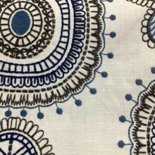 Портьерная ткань с вышивкой из хлопка в этническом стиле белая