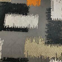 Портьерная атласная ткань с вышивкой из хлопка и вискозы медь
