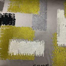 Портьерная атласная ткань с вышивкой из хлопка и вискозы горчичная