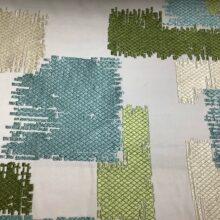 Портьерная атласная ткань с вышивкой ванильная