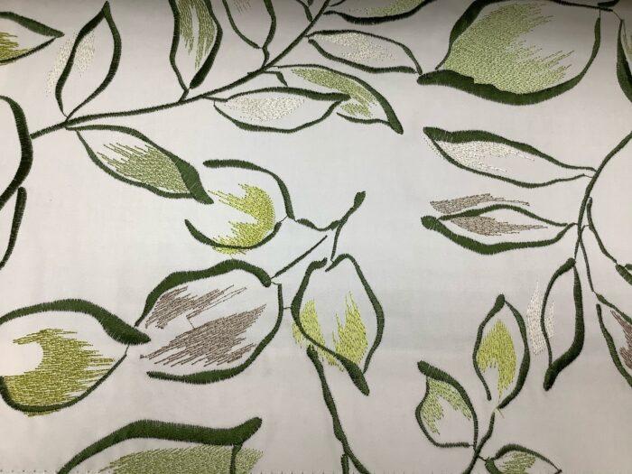 Портьерная атласная ткань с вышивкой листья из хлопка и вискозы