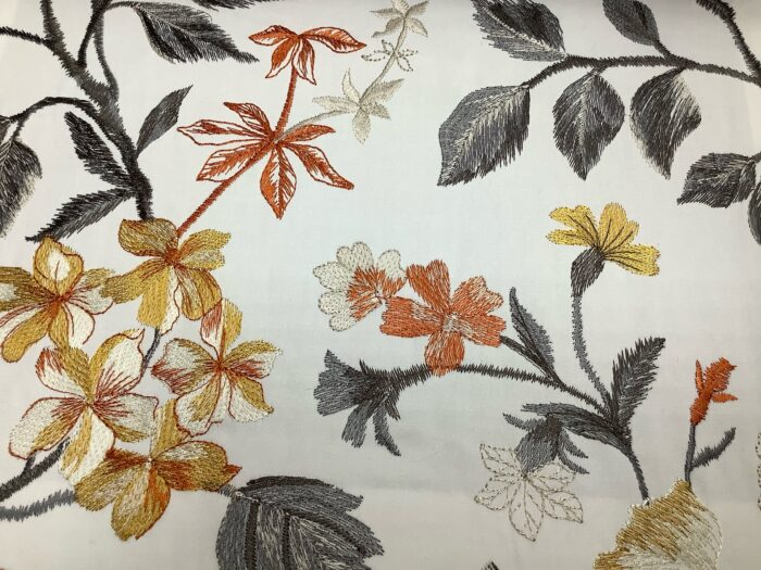 Портьерная атласная ткань с вышивкой растительным орнаментом