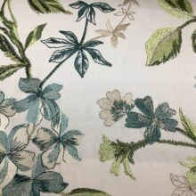 Портьерная атласная ткань с вышивкой из хлопка и вискозы ванильная