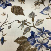 Портьерная атласная ткань с вышивкой цвет ванили