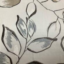 Портьерная атласная ткань с вышивкой из хлопка и вискозы с листьями