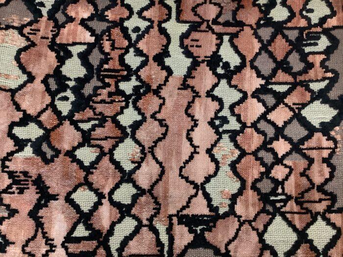 Портьерная ткань из шенилла с набивкой терракот