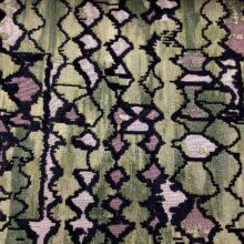 Портьерная ткань из шенилла с набивкой в этническом стиле зеленая