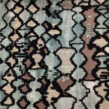 Портьерная ткань из шенилла с набивкой в этническом стиле голубая