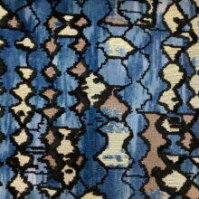 Портьерная ткань из шенилла с набивкой синего цвета