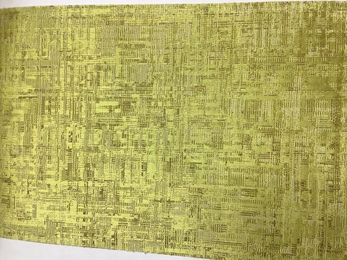 Портьерная атласная желтая ткань премиум-класса с абстрактным рисунком