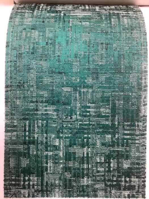 Портьерная атласная изумрудная ткань премиум-класса с абстрактным рисунком