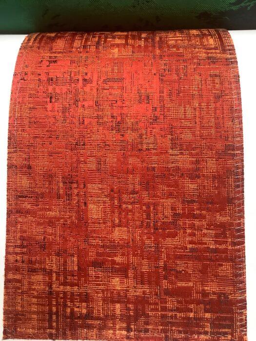 Портьерная атласная красно-терракотовая ткань премиум-класса