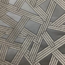Портьерная атласная серая ткань премиум-класса с геометрическим рисунком