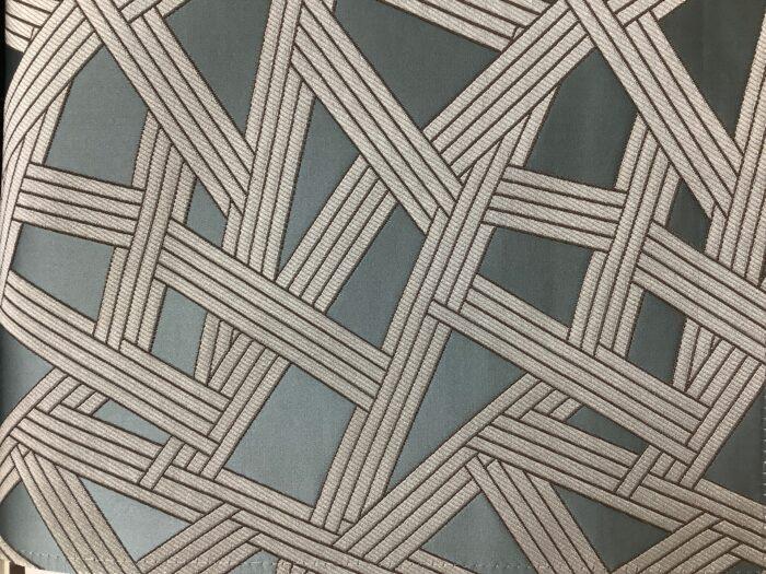 Портьерная атласная ткань премиум-класса в бирюзовых и серебристых оттенках