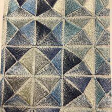Портьерная атласная ткань с вышивкой премиум-класса с геометрическим рисунком