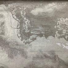 Портьерная атласная ткань премиум-класса с абстрактным рисунком ванильная