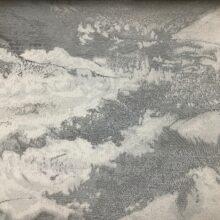 Портьерная атласная ткань премиум-класса с абстрактным рисунком серебристая