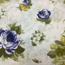 Портьерная ткань из хлопка с синим цветочным орнаментом