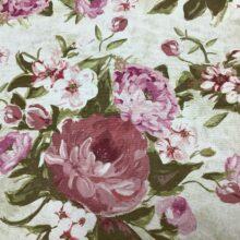 Портьерная ткань из хлопка с розовым цветочным орнаментом