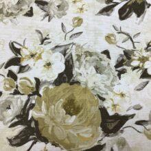 Портьерная ткань из хлопка с бежевым цветочным орнаментом