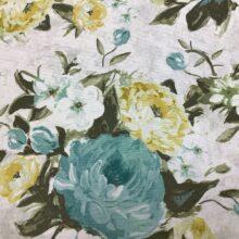 Портьерная ткань из хлопка с голубым цветочным орнаментом
