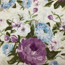 Портьерная ткань из хлопка с сиреневым цветочным орнаментом