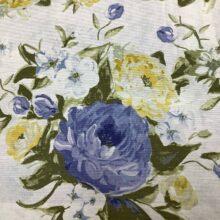 Портьерная ткань из хлопка с сине-желтым цветочным орнаментом