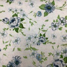 Портьерная ткань из хлопка с зеленым цветочным орнаментом
