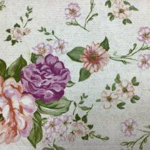 Портьерная ткань из хлопка с цветочным орнаментом розовая