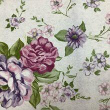 Портьерная ткань из хлопка с цветочным орнаментом сиреневая