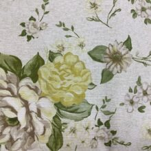 Портьерная ткань из хлопка с цветочным орнаментом зеленая