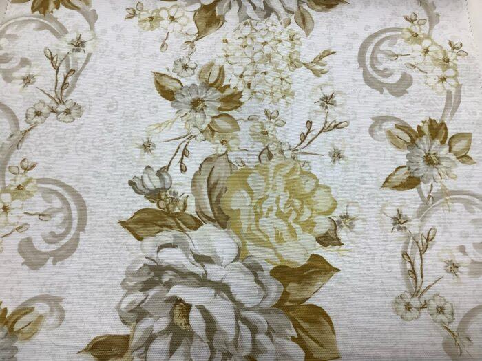 Портьерная ткань из хлопка с цветочным орнаментом бежевая