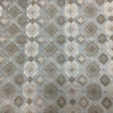 Портьерная ткань с геометрическим орнаментом в бежев-дымчатых оттенках