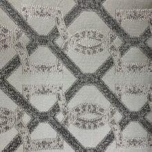 Портьерная жаккардовая ткань с геометрическим рисунком в серебристо-серых оттенках