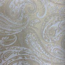Портьерная жаккардовая ткань с рисунком «восточные огурцы» в золотисто-кремовых оттенках