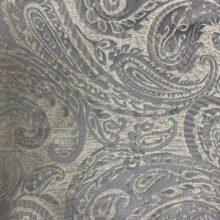 Портьерная жаккардовая ткань с рисунком «восточные огурцы» в серебристо-голубых оттенках